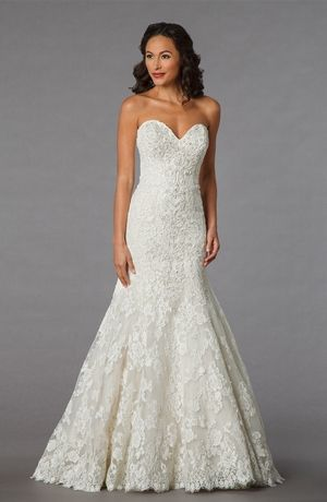Bridal Gowns: Danielle Caprese Mermaid Wedding Dress with Sweetheart Neckline and Dropped Waist Waistline