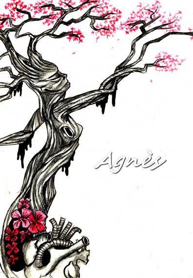 tree of love arbre femme c ur fleur dessin la main peinture taouage pinterest. Black Bedroom Furniture Sets. Home Design Ideas