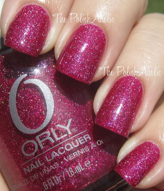 Orly: Miss Conduct (is a magenta base with a gorgeous scattered holo effect):