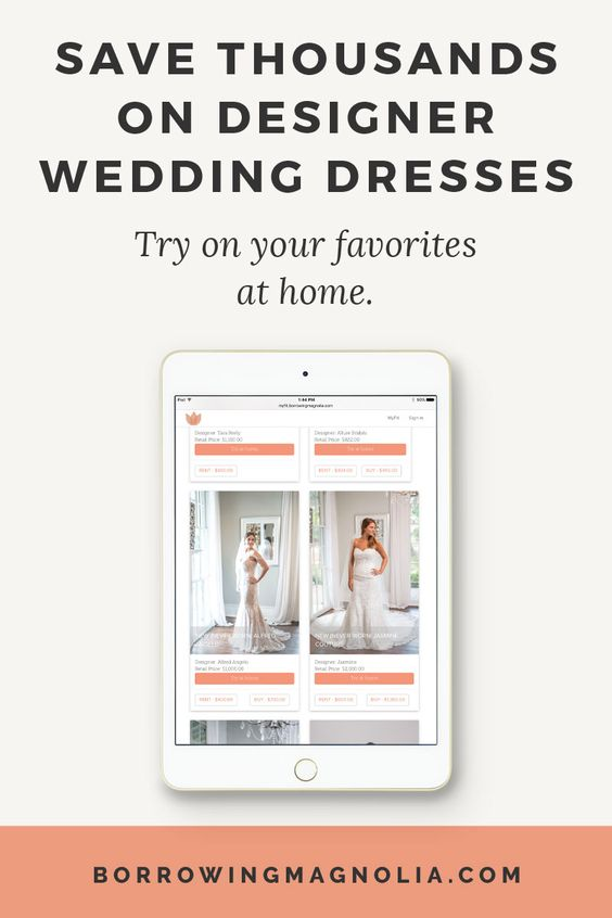 Save thousands on designer wedding dresses.  Try on your favorites, at home, before they
