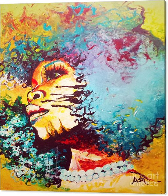 Unstrained Afro Blue Canvas Print Art Blue Art Artwork