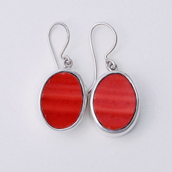 Broken China Jewelry Persimmon Sterling Silver Earrings