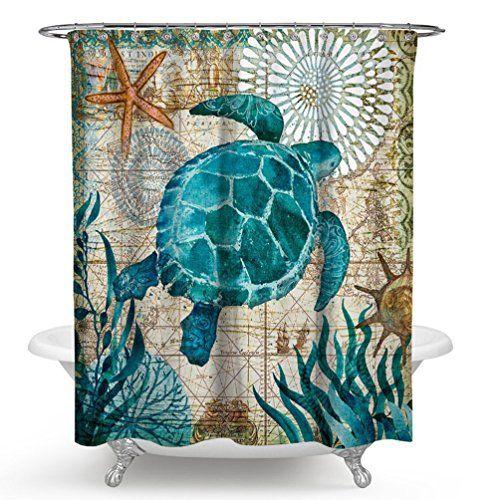 Imonet Sea Turtle Ocean Animal Landscape Shower Curtain F Https