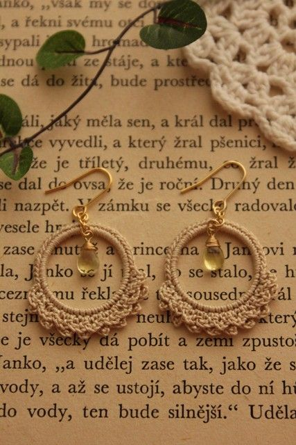 Crochet earrings.  No instruction but can be followed by looking at photo.  This site has several designs and can be translated.: