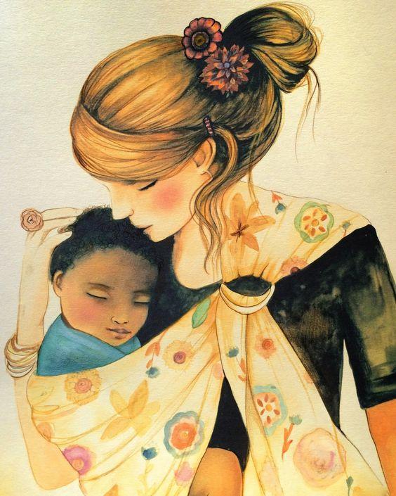 Resultado de imagen de acuarela madre con bebe