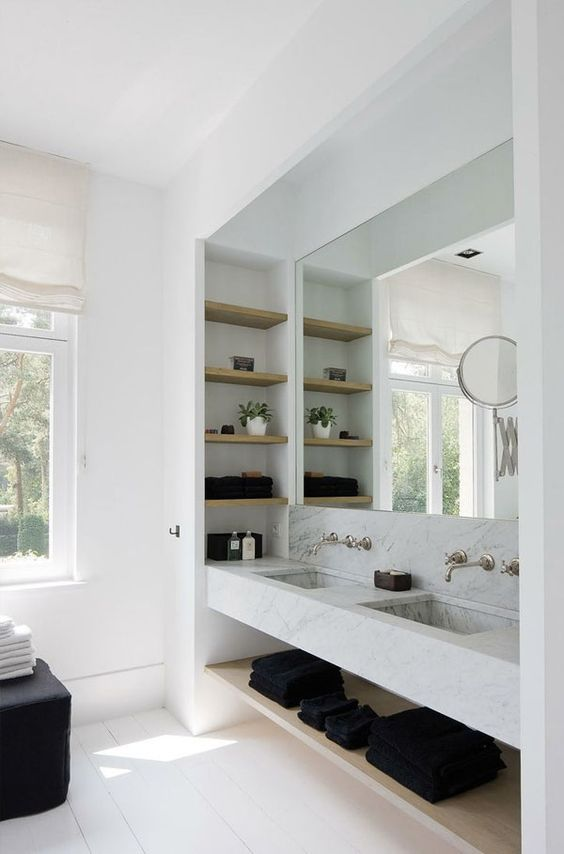 Marble counter + sink for a fresh modern bathroom | Apartment34: