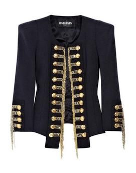 Balmain black military jacket with gold buttons | Balmain