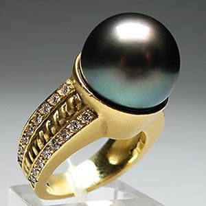 DORIS PANOS CLASSICO SOUTH SEA BLACK PEARL DIAMOND RING SOLID