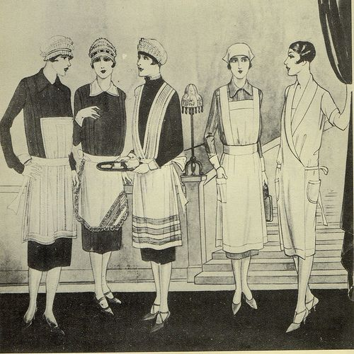 drawing of vintage maids from 1920s