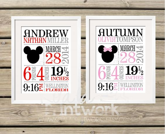Mickey Mouse or Minnie Mouse theme Baby Birth Announcement Prints – Personalized Baby Announcement Gifts