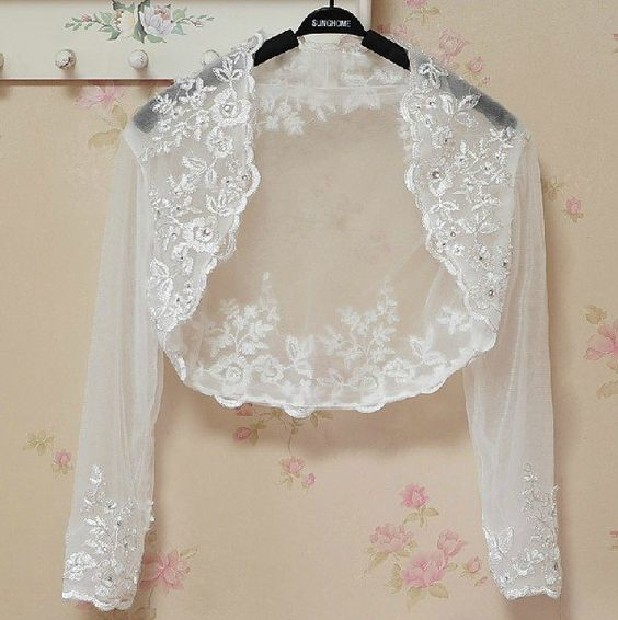 Bridal Vest 3/4 Sleeves Silver Lace Apliques white ivory Beads Stock Wedding Bolero Jacket RJ4: