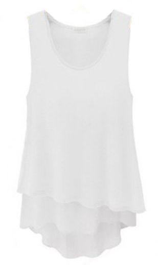 White Sleeveless Ruffles Chiffon Tank Dress