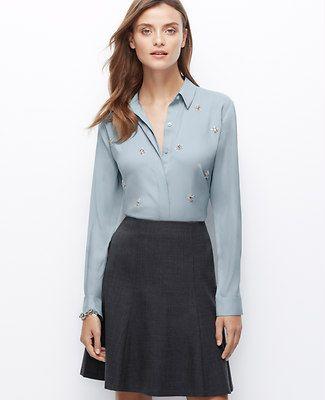 Petite Crepe Embellished Shirt