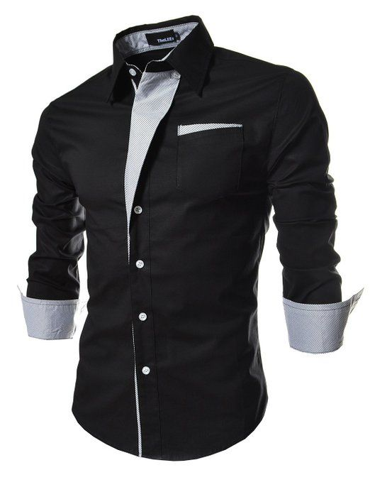 TheLees Mens Casual Long Sleeve Stripe Patched Fitted Dress Shirts ...