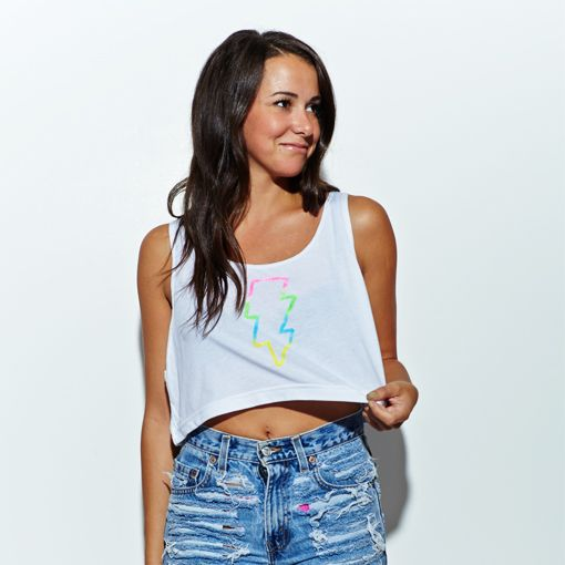 Electric Family | New Bolt Crop Top | White