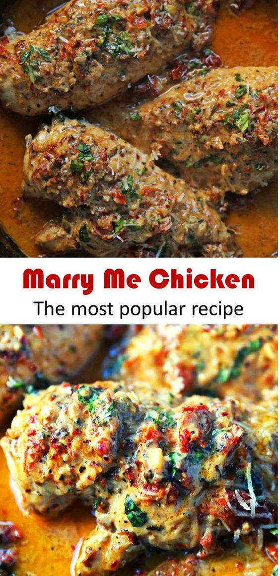 This is The Most Popular Recipe: Marry Me Chicken Recipe. Marry Me Chicken. Famous Chicken wok in sundried tomato parmesan cream sauce with fresh basil. It will surely inspire a marriage proposal! #Chicken #Dinner #Recipes #marrymechicken #marryyouchicken #sundriedtomatocreamchicken