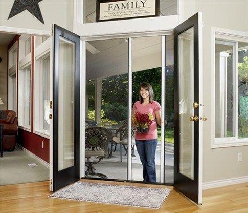 Custom Double Panel Retractable Screen Door French Doors With