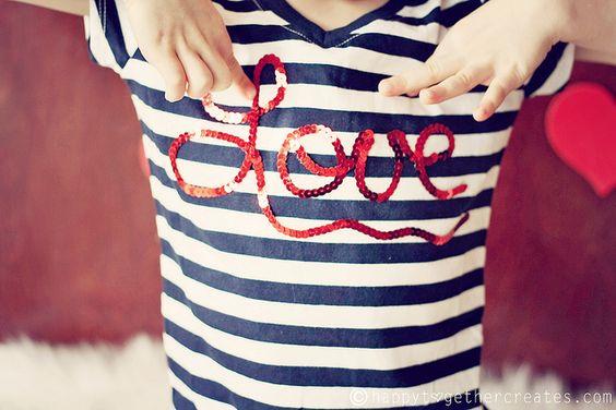 LOVE sequins shirt - tutorial