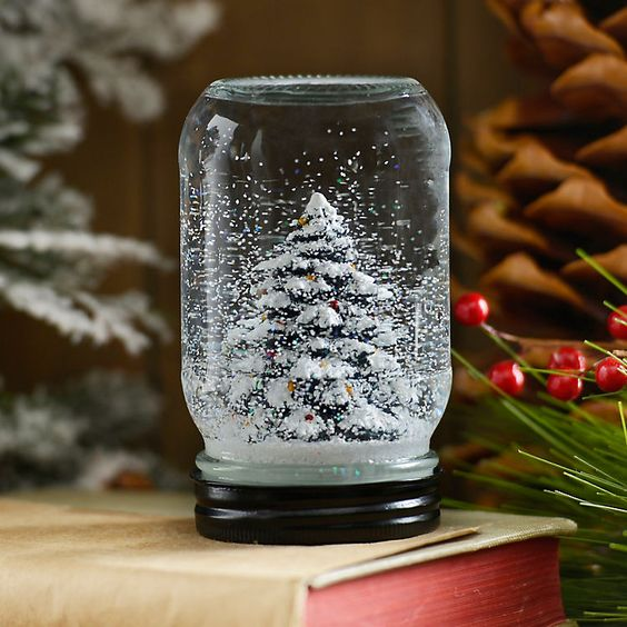 Snowy Christmas Tree Mason Jar Snow Globe | Kirklands