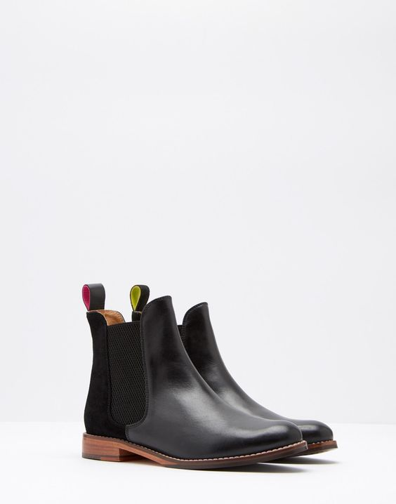 Westbourne Black Leather Chelsea Boots | Joules UK