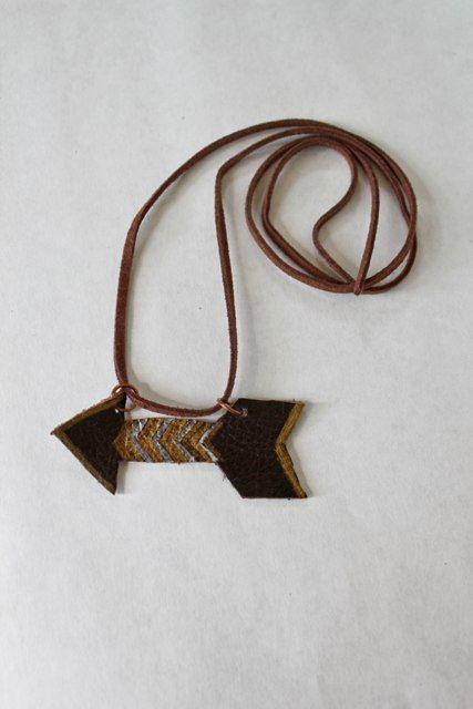 Adorable leather arrow necklace, $15