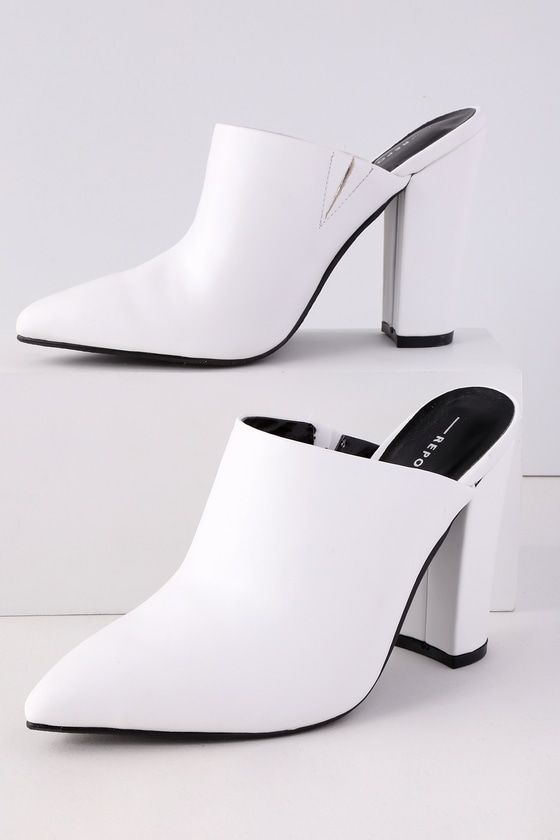 FINCH WHITE POINTED TOE MULES   Casual