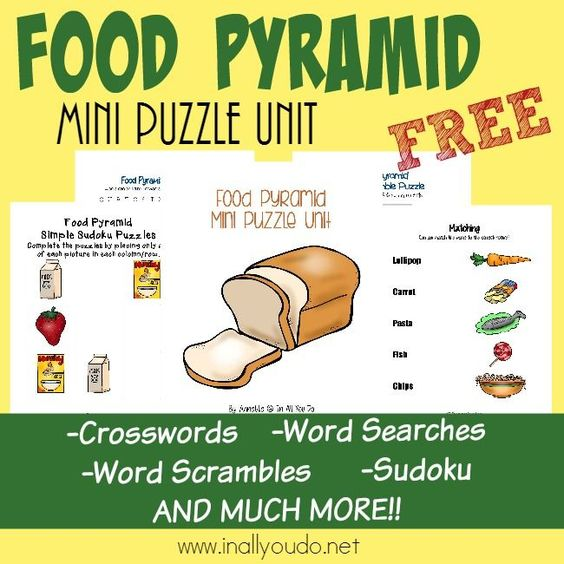 Food And Activities: Food Pyramid Writing Activities, Puzzles & Tot Pack