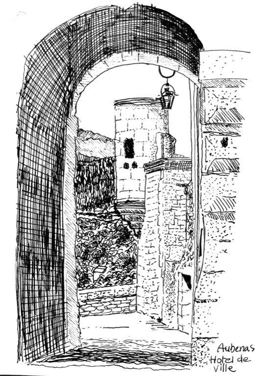 Aubanas, L'Ardeche pen drawing 1997