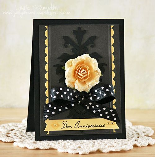 : Black Flock, Cardmaking, Black Damask, Beautiful Card, Anniversary Cards, Cards Black, Color Combination
