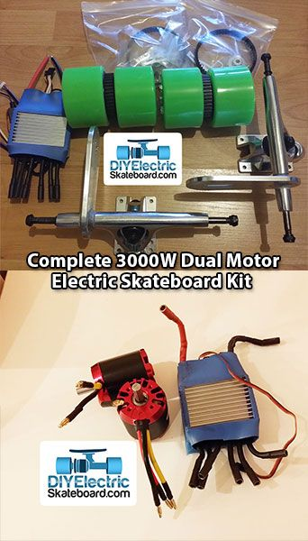 Complete 4400w Dual Motor Electric Skateboard Kit \u2039 DIY Electric Skateboard  IDEAS  Pinterest