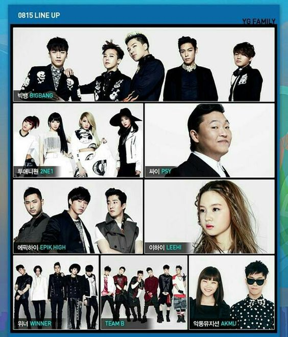 YG Family line up I just can't imagine the stage for this line up. It's the POWER HOUSE