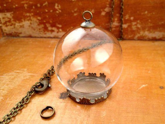 1 Small Clear Glass Globe Necklace Kit Bottle Pendant