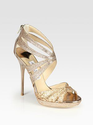 Jimmy Choo - Garland Two-Tone Glitter-Coated Metallic Leather Sandals SO PRETTY!