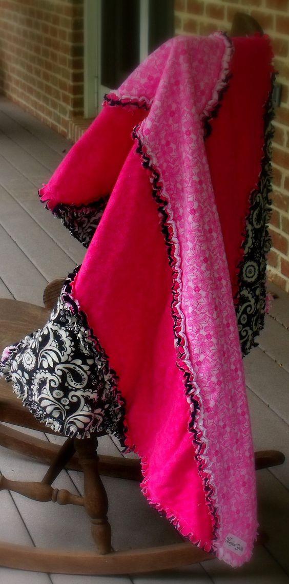 rag quilt, shabby chic quilt, modern striped quilt pink black. $75.00, via Etsy.