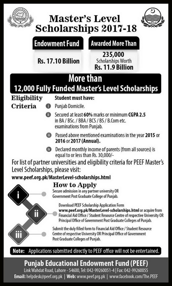 Masters Level Scholarships 2017-18 Latest Scholarships for - scholarship form