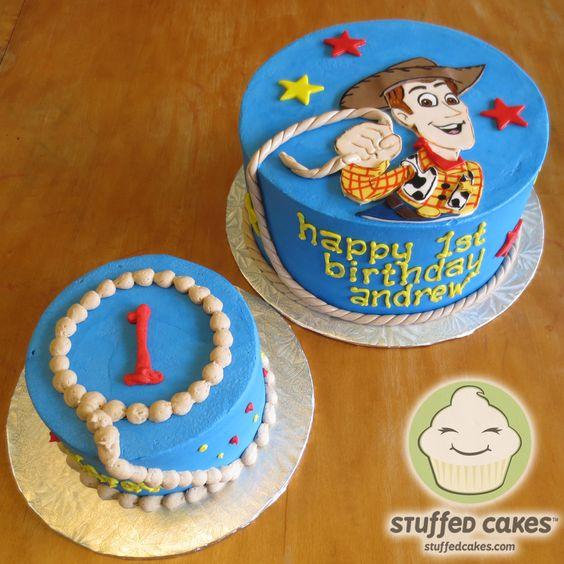 Woody from Toy Story cake and baby smash cake  www.StuffedCakes.com  Custom Cakes - Seattle, WA, USA
