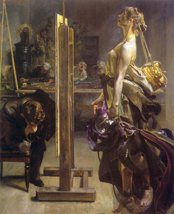 Painter's Inspiration (1897). Jacek Malczewski (Polish, 1854-1929). Oil on canvas. The vision of the eternal muse Polonia appears to the artist. Like a sleepwalker, Polonia presents a disquieting rather than reassuring image, with a tattered army greatcoat falling from her shoulders, a straw crown hanging from her head, and a soap bubble borne carefully before her—the symbols of degradation, betrayal and illusion.:
