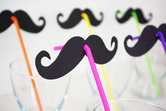 Schnurrbart Moustache Vorlage Schablone Strohhalm Strohhalme basteln Party-Gag Anleitung DIY kostenlos fertig