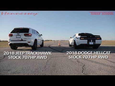 Jeep Trackhawk Vs Challenger Hellcat Is A Crazy 1 400 Hp Drag
