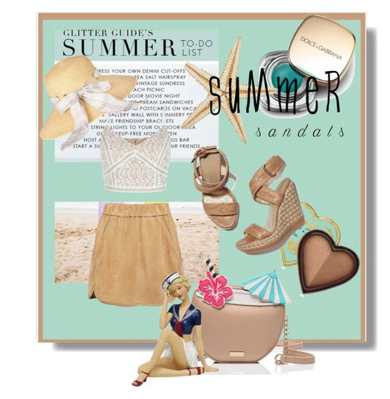 """""""The Cutest Summer Sandals"""" by kari-c ❤ liked on Polyvore featuring Marissa Webb, New Look, Kate Spade, Dolce&Gabbana, Judith Edwards Designs, Barbour, Too Faced Cosmetics, Stuart Weitzman and summersandals"""