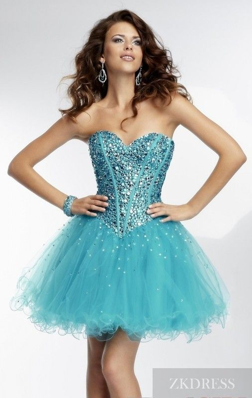 Sexy Organza Baby doll Sleeveless Blue Short Prom Dress ...