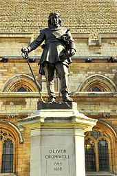 1899 statue of Cromwell by Hamo Thornycroft outside the Palace of Westminster, London