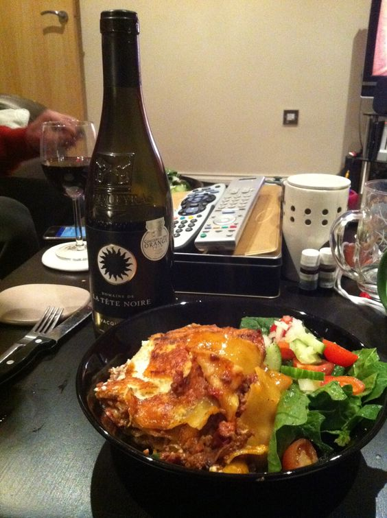 Jamie Oliver lasagne with a cheeky Vacqueyras red