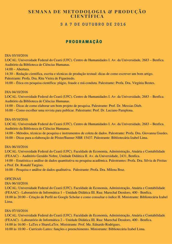 Programação da I Semana de Metodologia & Produção Científica - 2016
