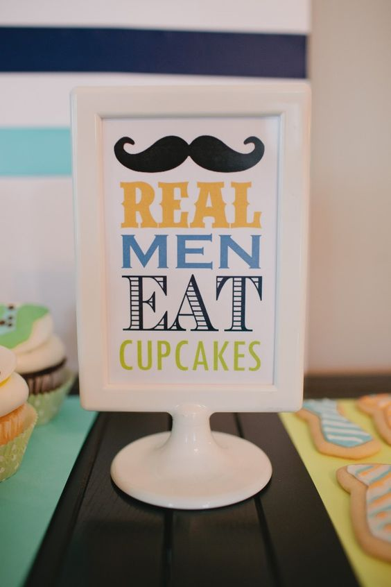 """I'd focus on ties rather than mustaches but I LOVE the """"our little man..."""" theme!!  so cute!"""