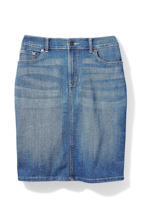 Hot Summer Fashion That Won't Burn Your Budget: This denim pencil skirt has a touch of stretch to make your curves look more stunning.  Skirt, $40; lee.com. Up to size 18.