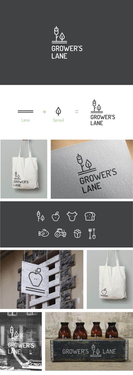 Logo Design, Brand Identity Grocery Store, Market Deli Gourmet Fresh Food Market | fruit & veg, store, fresh, organic, farm, local, geometric, shape, line art, modern, minimalist, mark, monogram, inspiration  |  Grower's Lane, Perth WA | Celine Le Duigou, Freelance.