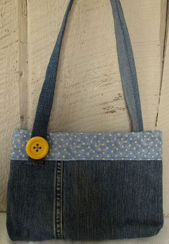 Adorable little girls purse made from CLEAN recycled denim jeans and blue cotton polka dot fabric. Yellow and blue button accents. I wash all my