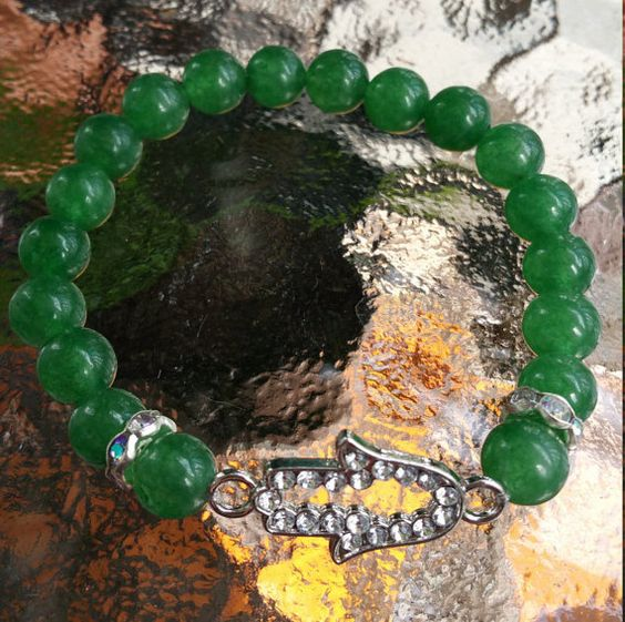 Green Aventurine Hamsa Bracelet by PixiFourPixi on Etsy