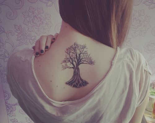 Upper Back Tree Tattoo For Women